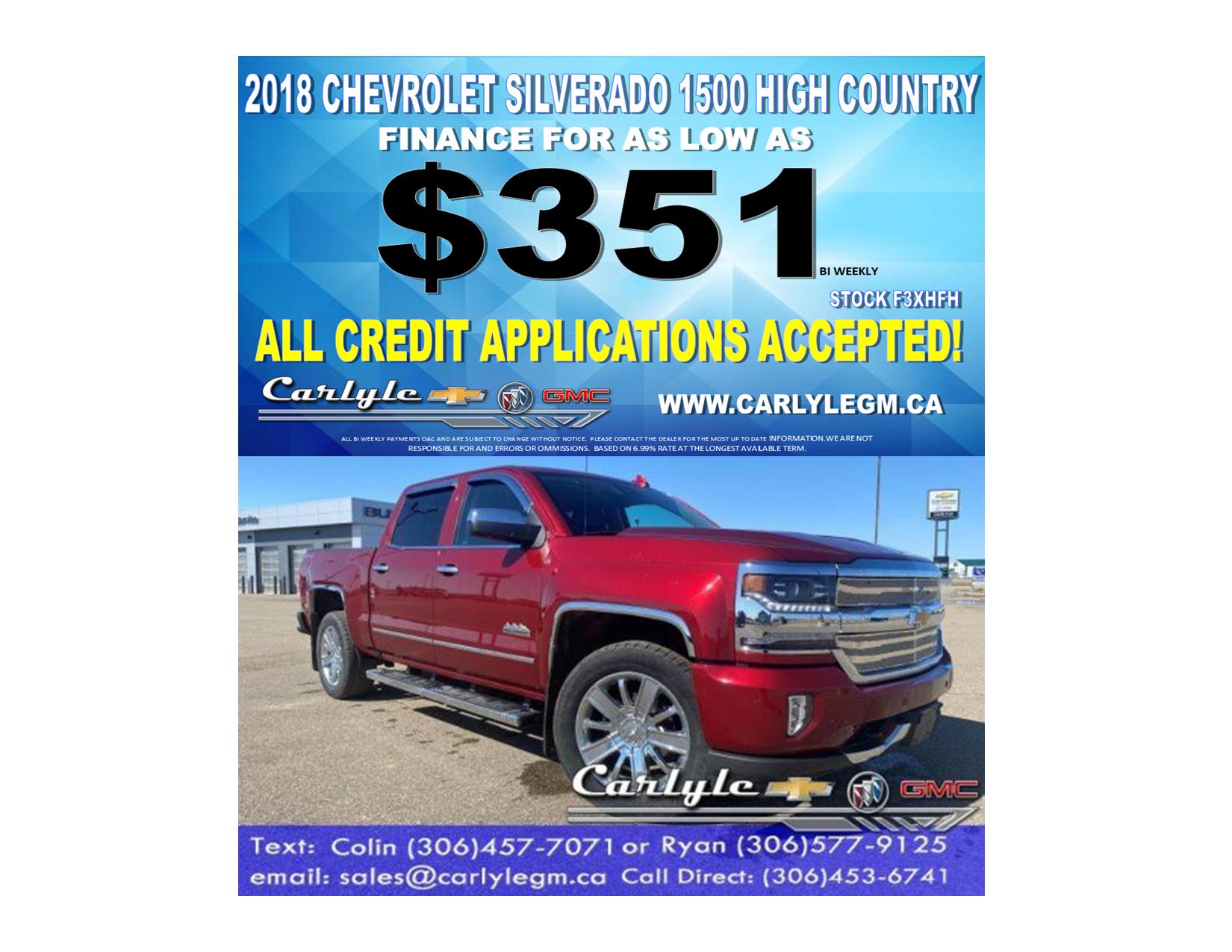 2018 Chevrolet Silverado 1500 High Country Crew Cab 4WD